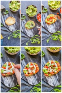 Prep image for avocado toast showing six images of the recipe from start to finish.