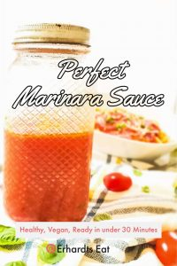 Pin image showing perfect marinara sauce in a glass mason jar.