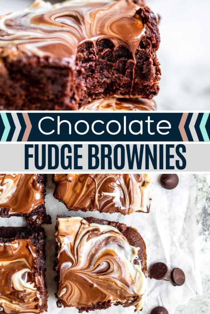 Fudge brownies pin with two images of finished brownies and white and blue text overlay.