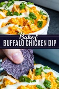 Pin for baked buffalo chicken dip recipe. Image is a combo of two images with white text in the middle on a blue background.