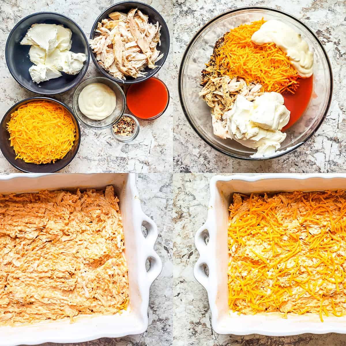 Prep image for baked buffalo chicken dip. Image shows ingredients and step by step pictures.
