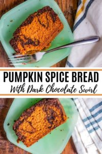 Pin image for pumpkin spice bread. Image has black title text in the middle.