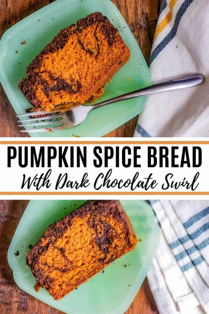Pin image for pumpkin spice bread. Image is a collage with black text in the middle.