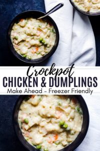 Pin for Crockpot Chicken and Dumplings. Combo of two images with blue and black text in the middle.