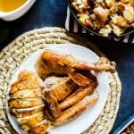 The best Herb Butter Roasted Turkey for your Thanksgiving holiday! This turkey is moist, simple, most importantly delicious! In is baked slow in the oven with butter and herbs upside down! Finish with a classic pan drippings gravy to complete your meal!