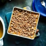 The BEST Southern Sweet Potato Casserole recipe with Candied Pecans topping. This dish is the ultimate classic Thanksgiving side dish made with pineapple, pecans and love. This dish can also be made ahead to save on prep time. #Thanksgiving #sidedish #SweetPotatoCasserole