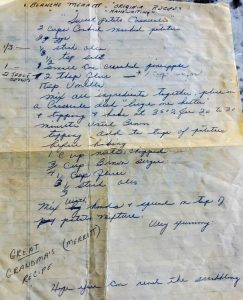 Handwritten casserole recipe written by my great grandma on lined paper with blue ink in cursive.