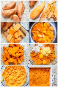 Prep image showing step by step sweet potato casserole prep.