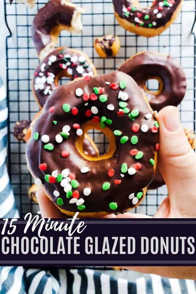 pin for chocolate donuts with white and blue text.