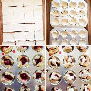 Prep image for blackberry brie bites with pecan and sage topping recipe. The image is a collage and shows 4 squares photos shot from above on a bamboo cutting board. The top left image is of a puff pastry sheet cut into 24 equal pieces. The top right image is of 2 silver muffin tins with the puff pastry squares fit into them. The bottom left image is of the same muffin tins with the puff pasty with blackberry jam in the center. The last bottom right image is of the same bites with a piece of brie in the center of each.