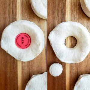 Prep image for chocolate glazed donut recipe. The image is a collage and shot from above. The image on the left is a whole donut with a bottle cap in the center. On the right in the donut cut and the whole to the side.