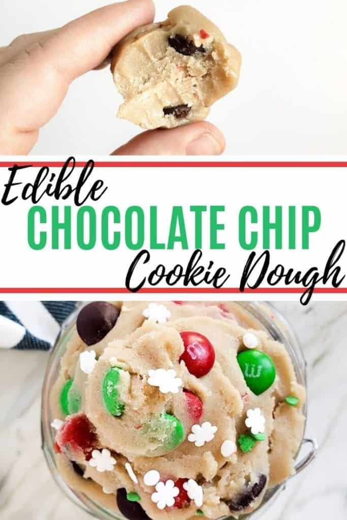 Pin for cookie dough recipe with green text in the middle.