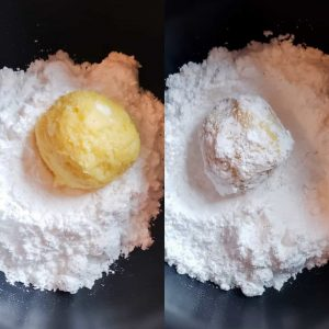 Prep photo for gooey butter cake cookies recipe. The image is a collage. On the left is a ball of dough sitting on top of powdered sugar in a black bowl. On the right is the same ball now covered in powdered sugar.