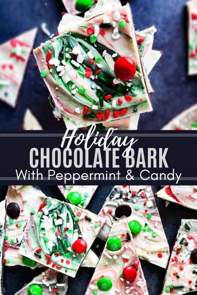 Pin for chocolate bark with two images and bark overlay.