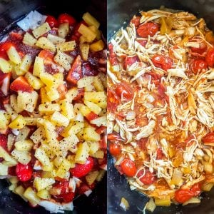 Prep image showing raw then finished recipe in the crockpot.