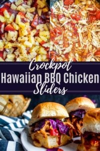 Pin image for Crockpot Hawaiian BBQ Chicken Sliders. Pin is a collage of meal in the crockpot and finished sandwich with white text in the middle.