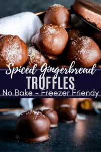 Pin image for gingerbread truffles including two images of truffles on a blue counter. White title text in the middle dividing the images.