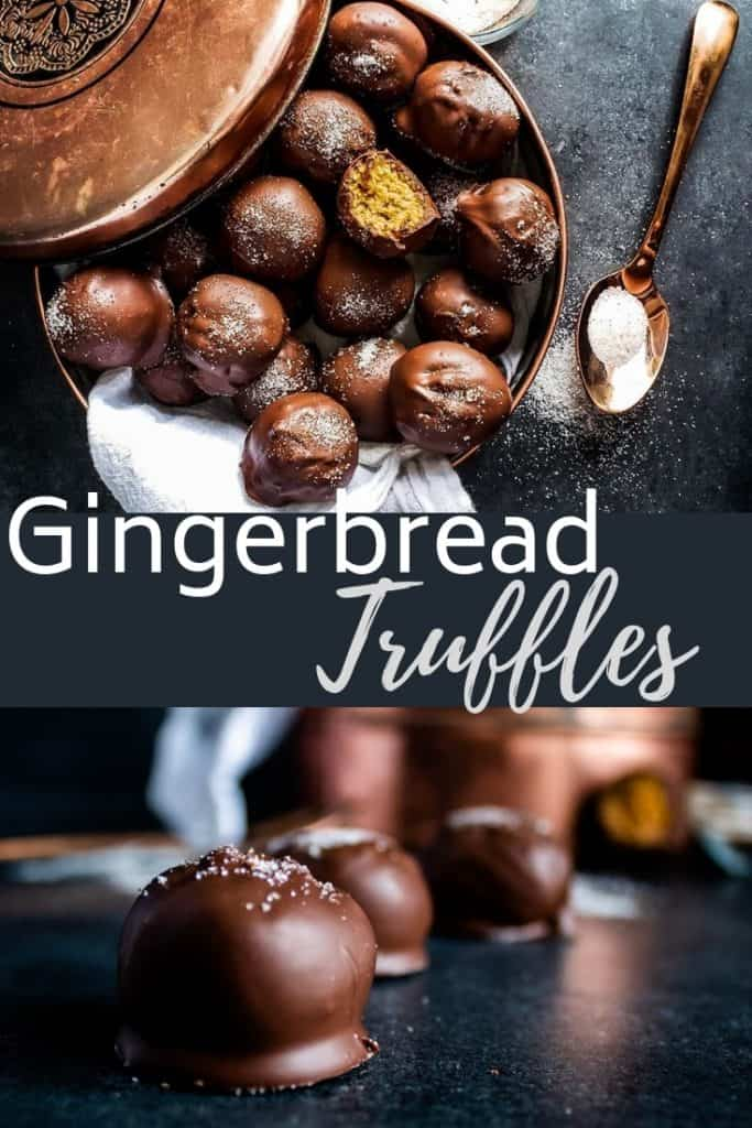 Pin for gingerbread balls with two images and white text overlay.