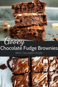 Pin image for gooey chocolate fudge brownies recipe.