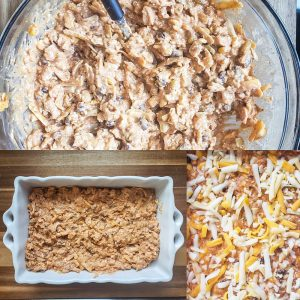 Prep image showing the process of making chicken enchilada dip. The image is a collage. The top image shows the dip being mixed together. The bottom left image is the dip in a white baking dish. The bottom right image shows the baked dip topped with shredded cheese.