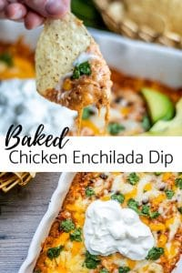 Pin image for Chicken Enchilada Dip recipe. Top image is of a chip dipped in the dip. The bottom is an overhead shot of the dip in a white baking dip with sour cream on top. In the center of the image is black text with the recipe title.