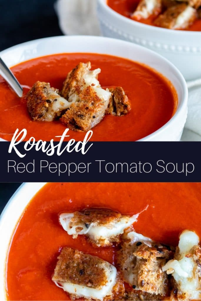 Two image of soup in a white bowl with text overlay.