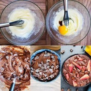 Prep image for skillet brownie recipe. The first image shows the sugar and butter whipped together. The second image shows the same bowl with an egg and vanilla in it. The third image shows the same glass bowl with all the ingredients mixed together. The fourth image shows the batter in the iron skillet topped with chocolate chips. The last image shows the baked skillet brownie topped with strawberries.