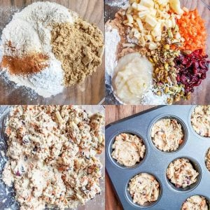 Prep image for morning glory muffins. The image shows the dry ingredients, then the veggies, nuts and fruits added in, then the wet ingredients stirred together in the same glass bowl. The final image shows the muffin dough in the muffin tins.