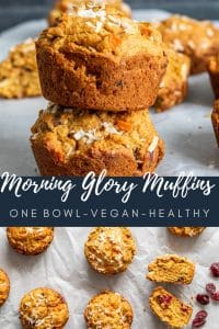 Pin for Morning Glory Muffins Recipe with two images. The top image is shot strait on and shows a stack of two muffins with some blurred out in the background. The bottom image is an overhead shot showing the muffins on parchment paper.