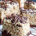 These Nutella Rice Krispie Treats are the perfect classic snack with a fun twist for both kids and adults. This easy no-bake dessert will satisfy any sweet tooth and perfect for families and for kids to help. #desserts #Nutella #Easy #recipe #kidsfood