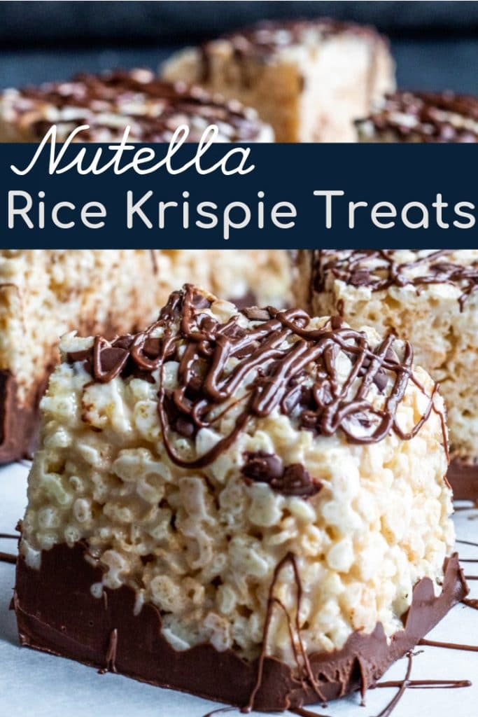 Pin for rice krispies with white text overlay and one image.