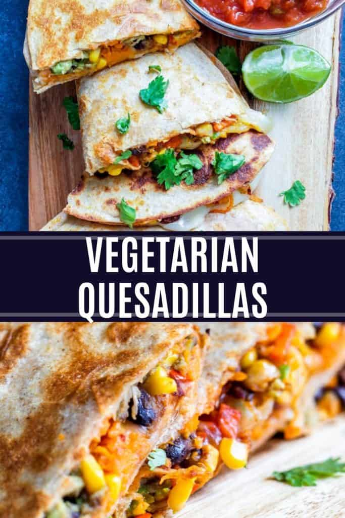 Veggie quesadillas pin with dark overlay and white text.