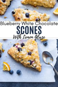 Pin for blueberry white chocolate scones recipe.
