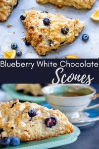 Pin for Blueberry white chocolate scones. Two images with text in the middle.