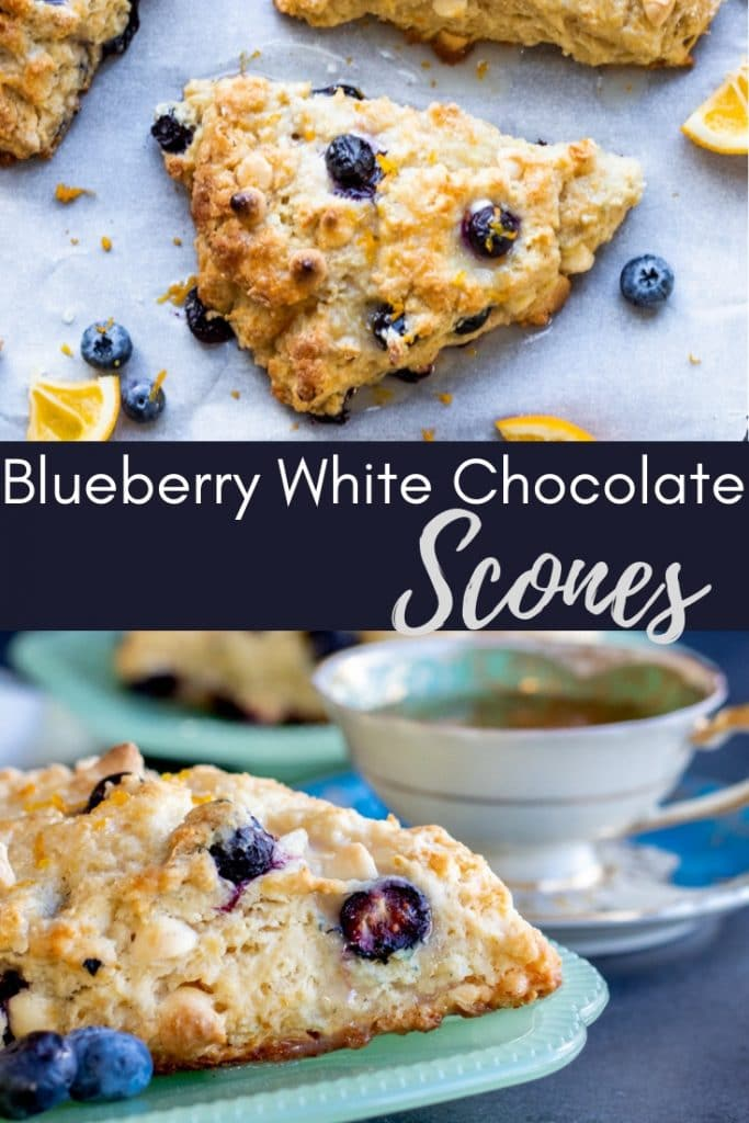 Two images of scones with dark blue overlay and text.