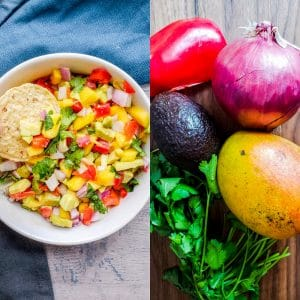 Prep image for mango avocado salsa showing whole ingredients and finished product.