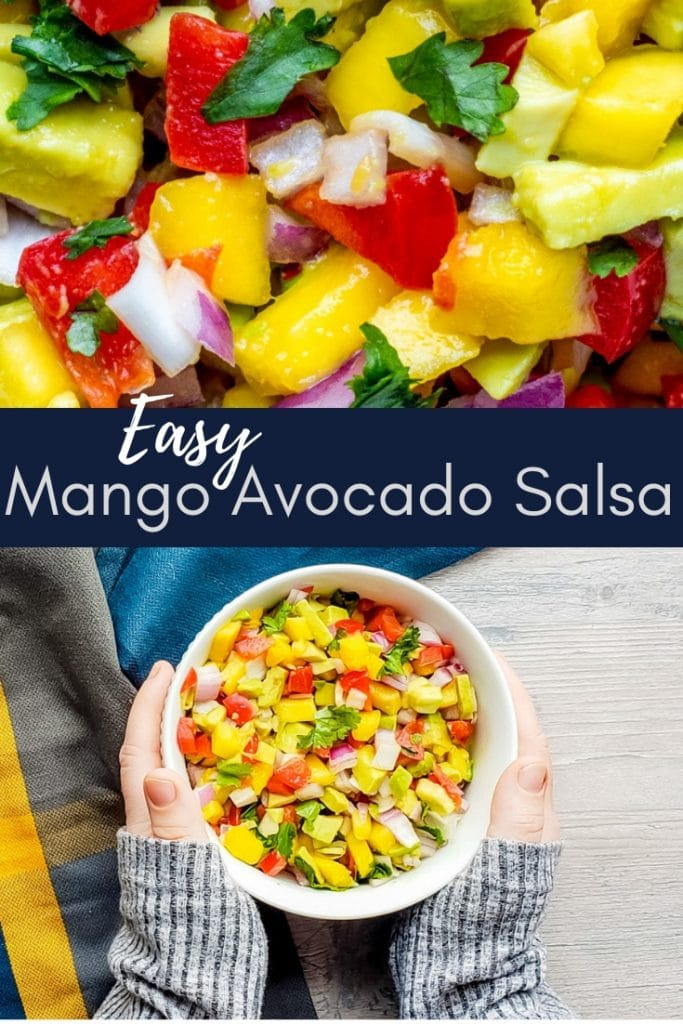 Pin for mango salsa with blue overlay and white text.