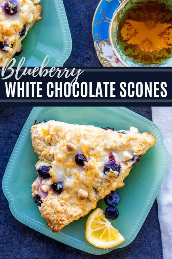 Blueberry White Chocolate Scones pin with text overlay.