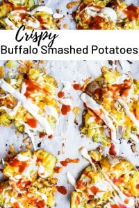 Pin for Crispy Smashed Potatoes recipe. Image shows smashed potatoes on parchment paper.