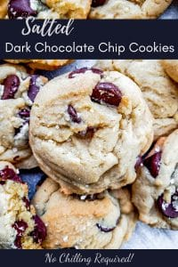 Pin for salted chocolate chip cookie recipe. Image shows picture of cookie with text overlay.