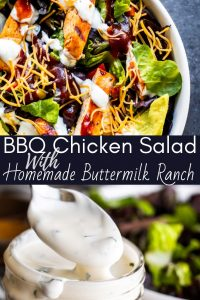 Pin for BBQ Chicken Salad recipe. Image is a combo of two photos with white text in the middle.