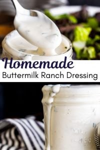 Pin for homemade buttermilk ranch recipe. Pin is 2 images with black text in the center.