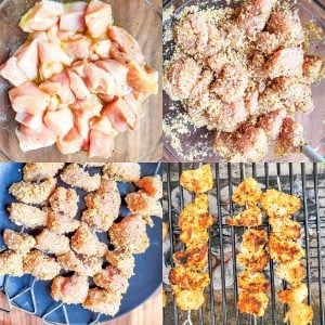 Prep image for grilled chicken spiedini. Image is a collage and shows the step by step process.