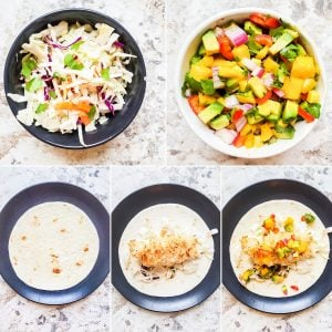 Prep image showing 5 images of ingredients and how to assemble fish tacos.