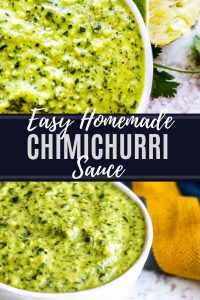 Pin for chimichurri sauce. Image is a combo of two pictures with white text in the middle.