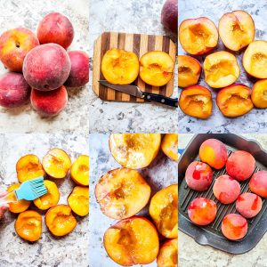 Prep image for grilled peach recipe. The image is a collage on 6 image showing step by step preparation and cooking.