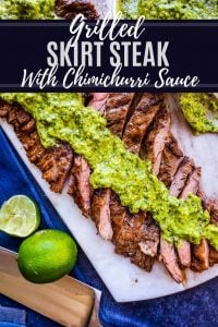 Pin for Grilled Skirt Steak Recipe. Image is on photo of meat with white text towards the top.