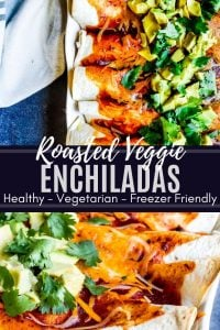 Pin for vegetarian enchiladas recipe. The pin is a combo of two images with white text in the middle.