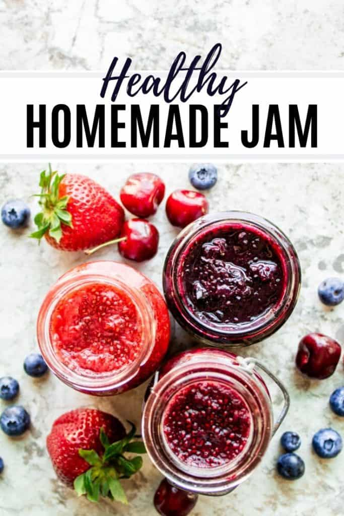 pin for homemade jam recipe with one image of three jams and text.