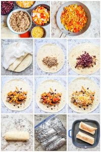 Prep image showing recipe step by step for burritos.
